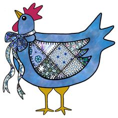 ArtbyJean - Paper Crafts: COUNTRY CHICKEN, CHOOKS - Set A24 - Blue Patchwork - A collection of clip art prints with patchwork patterns in shades of blue - CRAFTY CLIP ART - For digital arts, collage, crafts, decoupage, cards and scrapbooks.