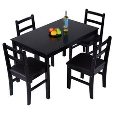 Giantex 5 Pcs Pine Wood Dining Set Table And 4 Upholstered Chair Breakfast Furniture Dark Brown * Check this awesome product by going to the link at the image. (This is an affiliate link) Living Room Chairs, Dining Room Table, Dining Set, Upholstered Coffee Tables, Upholstered Chairs, Contemporary Dining Room Sets, Primitive Dining Rooms, Sectional Sofa With Recliner, Best Dining