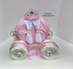 Princess Carriage - Ready To Ship - Princess Diaper Cake - Unique Baby Girl Baby Shower - Unique Baby Gift - Baby Shower Centerpiece Bebe Shower, Baby Shower Niño, Baby Shower Diapers, Baby Shower Parties, Diaper Shower, Pink Diaper Cakes, Princess Diaper Cakes, Nappy Cakes, Diy Diaper Cake