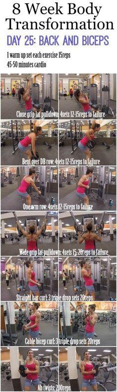 8 Week Body Transformation (Week 4, Day 25: Back and Biceps)
