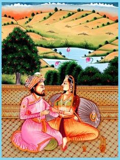 Nature has always been an important part of Indian life and thus Mughal paintings too . This painting shows a royal couple in an amorous pose relaxing on a terrace with a picturesque landscape in the back ground. The rolling hills , a lotus filled lake , white clouds , a lit up tree ,all add to the romantic and sensous atmosphere of the painting.