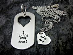 I Carry Your Heart With Me - His And Hers Necklace And Keychain Set - Couples Jewelry