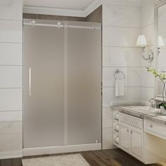Aston Moselle 48 in. x 36 in. x 77.5 in. Completely Frameless Sliding Shower Door with Frosted Glass in Stainless Steel