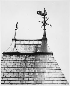 Weathervanes - Rooster (Weathercock) with Spirals opposite Cross with Circle on Metal Cap of Peaked of Slate Roof, 38 Chambers Street