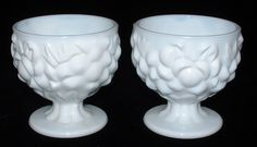 Milk Glass Candleholders Vintage Floral Pedestal Pair 1950s Posy Holders Mid Century by AntiquesAndTeacups #GotVintage #VintageMilkGlass #CandleHolders
