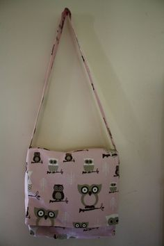 Cute Pink and Brown Owl Bag that Emilee made.   #handmade #bag #purse, #sewing