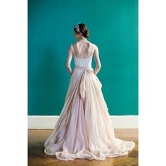 Linen Skirt In Blush Layered With Champagne Paired Wedding Dress