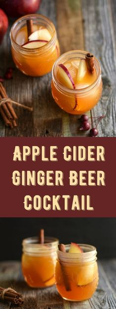 Enjoy the crisp flavors of fall with this tasty apple cider ginger beer cocktail! Spike with vodka and top with cinnamon sticks. So delicious! Cocktails Refreshing Ginger Beer Cocktail with Apple Cider - DIY Candy Holiday Drinks, Party Drinks, Fun Drinks, Yummy Drinks, Alcoholic Drinks, Vodka Cocktails, Drinks Alcohol, Christmas Mocktails, Vodka Martini