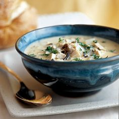 Chicken and Wild Rice Soup    Light cheese and a flour-and-milk mixture keep this soup creamy but surprisingly low in fat. Make a batch and reheat throughout the week for effortless and satisfying meals.