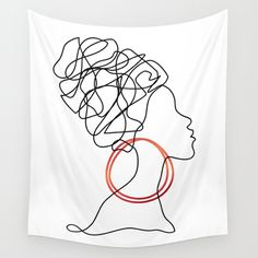 Fun, inspirational with an attitude. African Woman One line Drawing Wall Tapestry by byirenavitez Wall Drawing, House Drawing, Woman Drawing, Line Drawing, Art Drawings, Medusa Drawing, African Drawings, African Tattoo, Art Visage