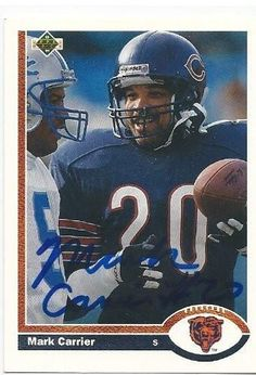 1991, Mark Carrier, Chicago Bears, Signed, Autographed, Upper Deck Football Card, Card # 434, a COA Will Be Included