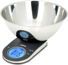 MIRA Brands Digital Kitchen Scale with Stainless Steel Bowl, 9.65-Inch - You can combine ingredients accurately with this easy to use digital kitchen food scale equipped with 4 high precision sensors to give you an accurate reading every time. Overall Rating:5star