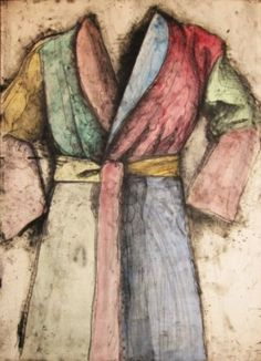 Multicolored Robe AP 1977 by Jim Dine. Lithograph, Etching with Hand painting and Oil Paint.