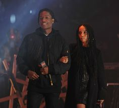 """A$AP Rocky and Zoë Kravitz speak onstage at the 2015 mtvU Woodie Awards on March 20, in Austin, Texas. Photos by Alli Harvey."""