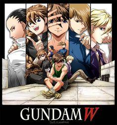 Heero Yuy, Duo Maxwell, Trowa Barton, Quatre Winner, and Wufei Chang of Gundam…
