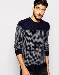 Image 1 of Scotch & Soda Jumper with Herringbone Pattern                                                                                                                                                                                 More