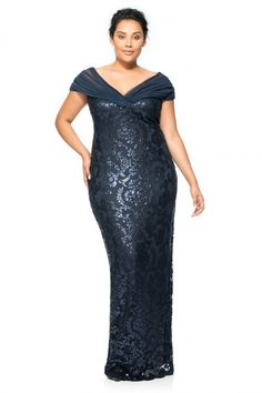 Paillette Embroidered Lace and Tulle Off Shoulder Gown - PLUS SIZE | Tadashi Shoji