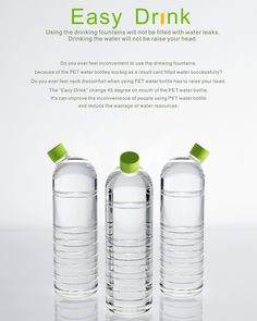 Easy Drink – Bottle Redesign by Hsu Hsiang-Min, Liu Nai-Wen & Chen Yu-Hsin -- They call it Easy Drink, but I'm more impressed on how easy it is to fill! Pet Water Bottle, Water Bottle Design, Water Bottles, Bottled Water, Plastic Bottles, Glass Bottles, Water Packaging, Bottle Packaging, Mineral Water