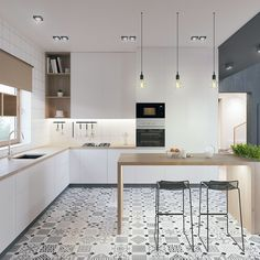 Scandinavian kitchen decor belongs to the most perfect decorations for a modern kitchen. We have a collection of Scandinavia kitchen decor ideas to consider. Modern Kitchen Design, Interior Design Kitchen, Modern Design, Eclectic Kitchen, Rustic Kitchen Cabinets, Kitchen Shelves, Floors Kitchen, Narrow Kitchen, Kitchen Fixtures