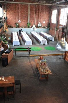 mountain goat brewery a popular wedding venue for both ceremony and reception Brewery Wedding, Wedding Catering, Wedding Events, Wedding Reception, Weddings, Wedding Venues Melbourne, Cool Cafe, Wedding Table Settings, Outdoor Furniture Sets