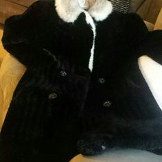 Black mink jacket Black mink jacket with black and white lapels  - vintage perfect condition. Jackets & Coats