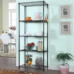 Amazon.com: LANGRIA 5 Tier Wire Shelving Unit for Storage Organization with Adjustable Leveling Feet 275 lbs Weight Capacity, 23.6'' (W) X 13.8'' (D) X 59.1'' (H), Black: Kitchen & Dining