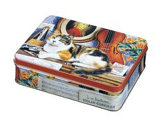 Geoff Tristram Cats - Medium rectangular Tin