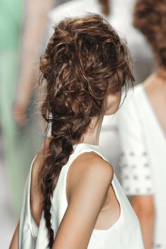 Never been good at French braiding? No problem. For this look, the more disheveled the better.