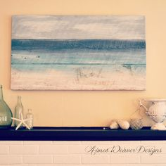 My Pink Life seaside-inspired paintings using salvaged barn wood.