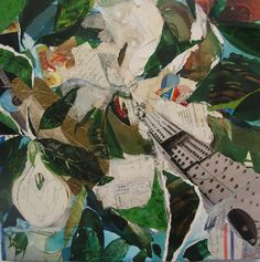 Stacie Speer Scott is a self-taught artist who started deconstructing paintings and adding vintage fabric and other found materials to them. Stacie does a lot of collage, like this one titled Bridge Magnolia.