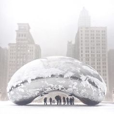 """last weekend's blizzard // #cloudgate #chicago"""
