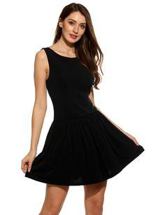 Black New Women Casual V-Neck Sleeveless Pleated Dress
