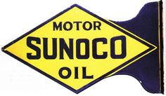 Flanged sign for Sunoco Motor Oil.