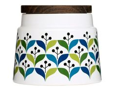 With a Scandinavian influence this Retro Storage Container from Sagaform is perfect for storing coffee, tea or sugar. Crafted from stoneware and beautifully decorated with a retro pattern in green and blue this storage container will make a perfec Jar Storage, Storage Containers, Food Storage, Storage Sets, Small Storage, Kitchen Storage, Retro Pattern, Pattern Design, Retro Home Decor