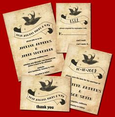 Rockabilly Wedding Invitation Set   Features A Sparrow, Stars And Banner    Printable JPG.
