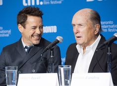 Actor Robert Downey Jr., left, laughs as actor Robert Duvall speaks during the press conference for 'The Judge' at the 2014 Toronto International Film Festival in Toronto on Friday, Sept. 5, 2014.   Photo by Hannah Yoon of The Canadian Press.
