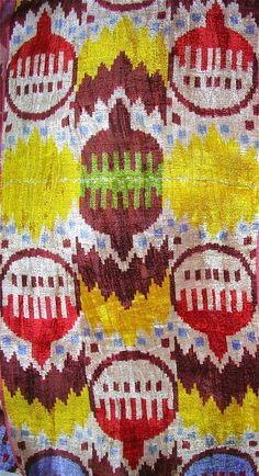 Uzbek silk velvet, handwoven on narrow traditional looms.