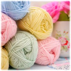 ...pastel yarn...Debbie Bliss Baby Cashmerino primrose, baby pink, baby blue and mint ♥