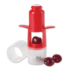 Cherry/Olive Pitter - A fruit pitting tool from 'for my small hands' website. http://www.forsmallhands.com/kitchen/snack-time/cherry-olive-pitter