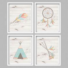Bohemian Nursery Art Prints Digital  Set of 4  by PerfectlyMatched