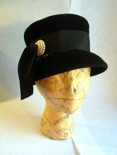 Vintage Black Velour Felt Woman's Top Hat Style by SteamIngenious