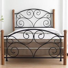Ive always loved these beds but they are so cheaply made, a true thick wrought iron one with beefy posts that are rough hewn or perhaps a shapely but still rough and rustic substantial pedestal style turned leg for posts. Welded Furniture, Iron Furniture, Online Furniture, Bedroom Furniture, Furniture Design, Headboard Art, Headboards For Beds, Wrought Iron Beds, Woodworking Bed