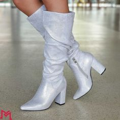 Cizme Dama cu Toc XKK117 Silver Mei Knee Boots, Booty, Ankle, Silver, Shoes, Fashion, Moda, Swag, Zapatos