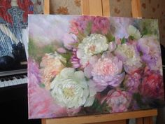 Original oil painting flowers pink peonies art FREE SHIPPING!