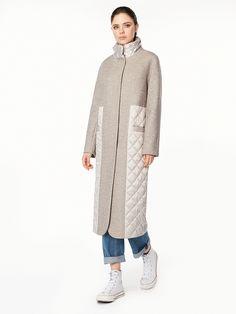 Пальто стеганые вставки цвет холодный бежевый, , артикул 3019420p10004