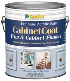 When repainting/finishing kitchen cabinets: Benjamin Moore's Cabinet Coat Trim & Cabinet Enamel. It is a waterborne enamel, so clean up is easy breezy yet it dries to an amazingly durable finish. It is also a self-leveling paint, which means that the product will even out to a smooth, factory-like finish, which is exactly what you want for your cabinets. The trick is to apply multiple THIN coats.