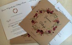 Zaproszenia rustykalne, wianek  zaproszenia NAVI Wedding Invitations, Wedding Ideas, Masquerade Wedding Invitations, Wedding Invitation Cards, Wedding Stationery, Wedding Invitation Suite