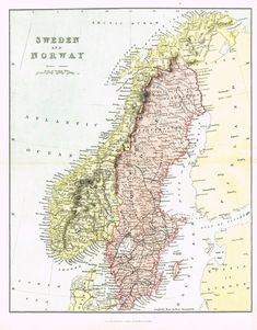 """Antique Map - """"SWEDEN and NORWAY"""" by J. Barhtolomew - Chromoithograph - c1850"""