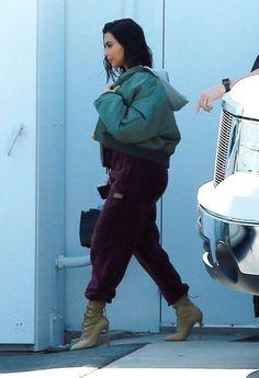 82c03e317cab1 Kim Kardashian wearing Adidas Velour Track Pants in Maroon