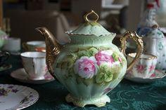 Lefton Green Heritage Rose Teapot Tea Party